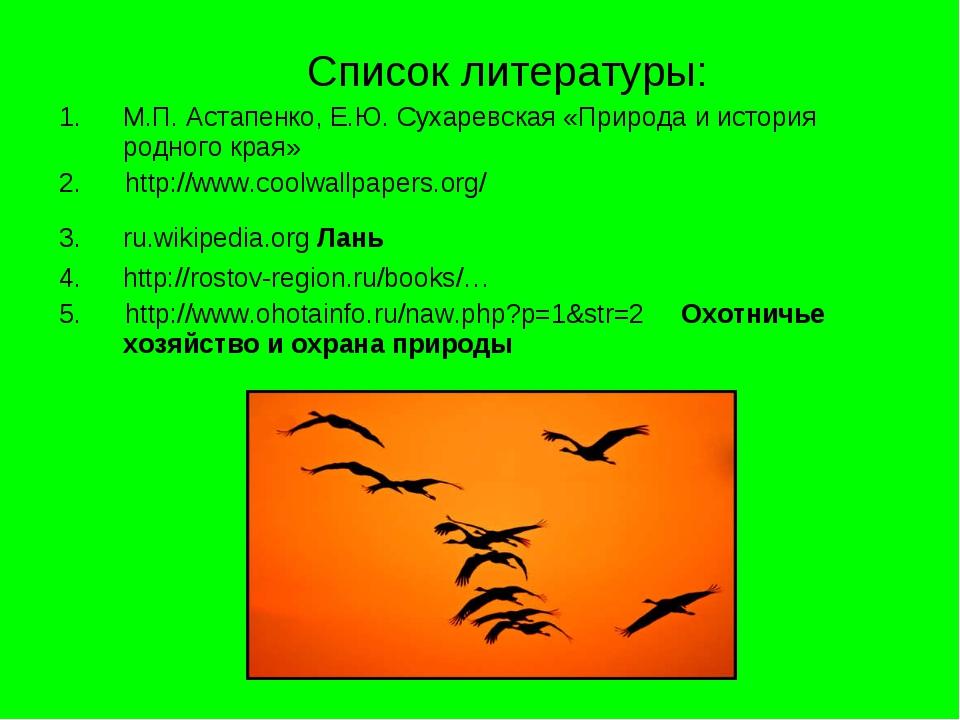 Список литературы: М.П. Астапенко, Е.Ю. Сухаревская «Природа и история родно...