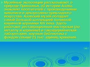 Музейные экспозиции рассказывают о природе Приазовья, об истории Азова, знако