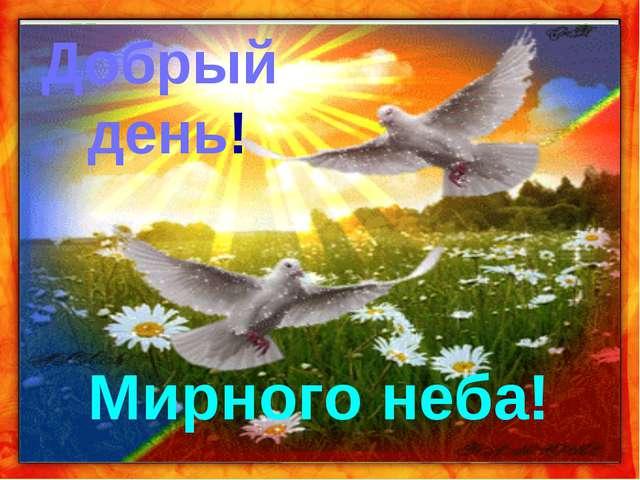Добрый день! Мирного неба!