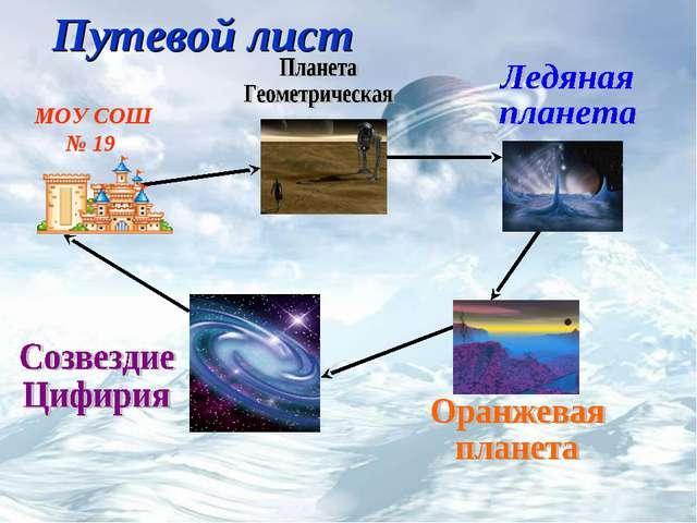 Путевой лист МОУ СОШ № 19
