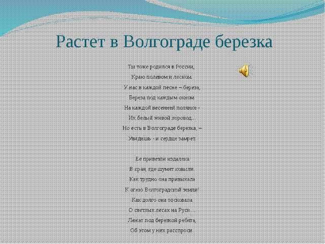 Растет в Волгограде березка Ты тоже родился в России, Краю полевом и лесном....