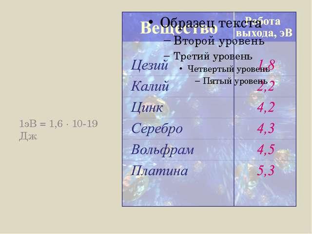 1эВ = 1,6 · 10-19 Дж