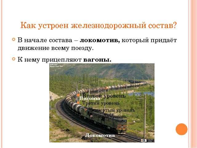 Как устроен железнодорожный состав? В начале состава – локомотив, который при...