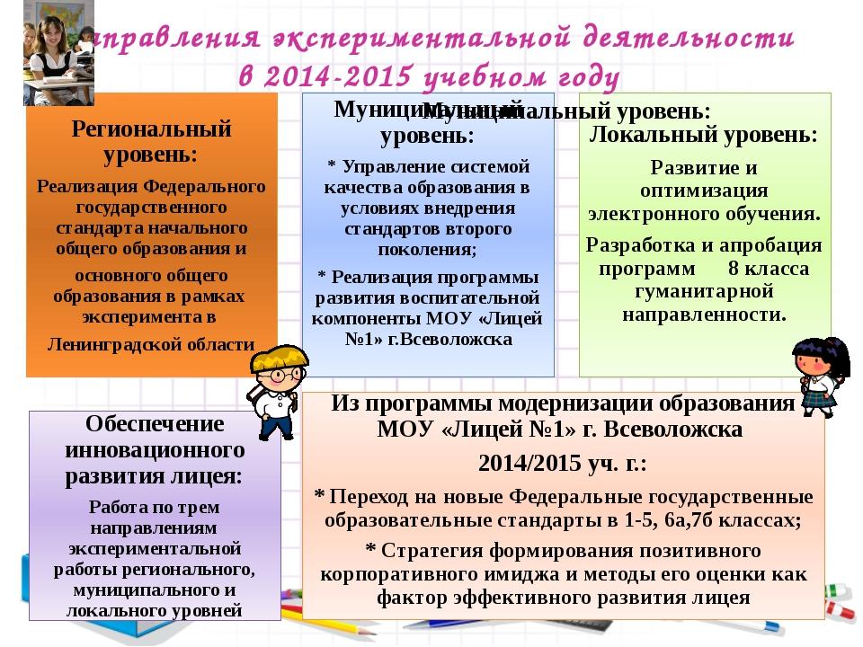 Направления экспериментальной деятельности в 2014-2015 учебном году