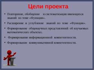 Цели проекта Повторение, обобщение и систематизация имеющихся знаний по теме