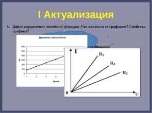 I Актуализация Дайте определение линейной функции .Что является ее графиком