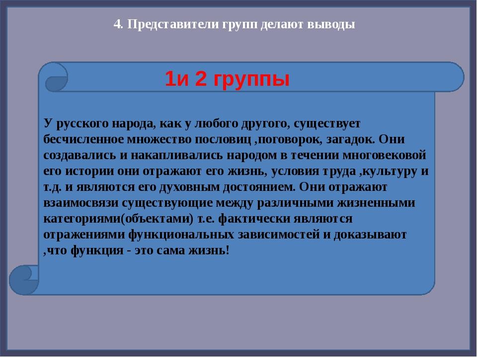 4. Представители групп делают выводы У русского народа, как у любого другого,...