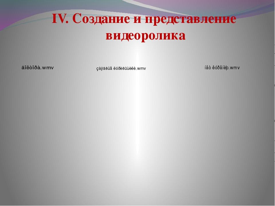 IV. Создание и представление видеоролика