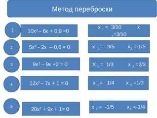 Метод переброски 10х2 – 6х + 0,9 =0 5х2 - 2х – 0,6 = 0 9х2 – 9х +2 = 0 12х2