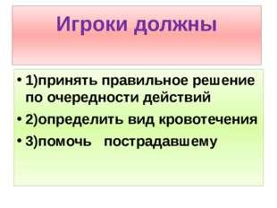 Игроки должны 1)принять правильное решение по очередности действий 2)определи