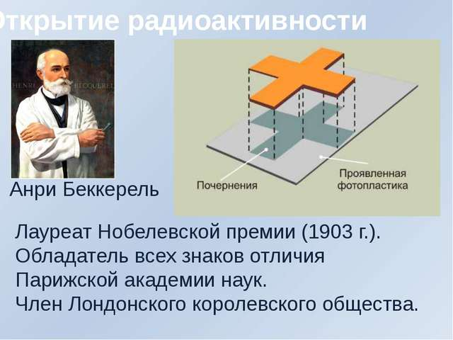 Открытие радиоактивности Анри Беккерель Лауреат Нобелевской премии (1903 г.)....