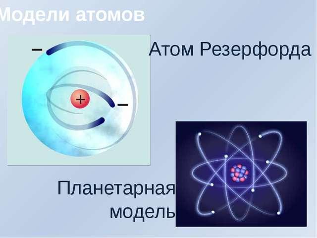 Модели атомов Атом Резерфорда Планетарная модель