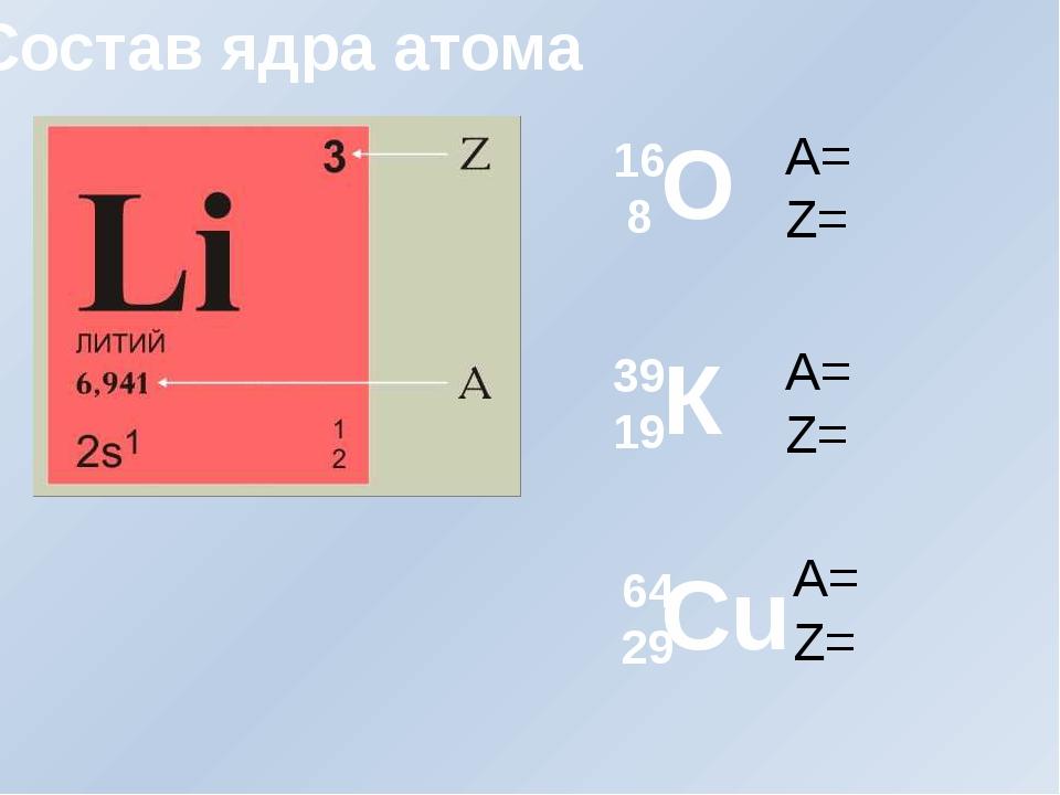 О К Cu 16 8 39 19 64 29 A= Z= A= Z= A= Z= Состав ядра атома
