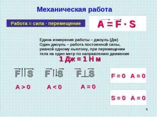 * Механическая работа Работа = сила · перемещение A = F · S Едина измерения р