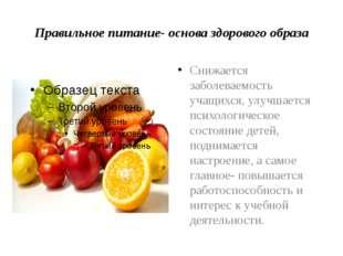 Правильное питание- основа здорового образа Снижается заболеваемость учащихся