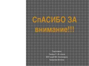 СпАСИБО ЗА внимание!!! Подготовила: Ученица 11 «Б» класса МОУ лицей №4 г.Кисл
