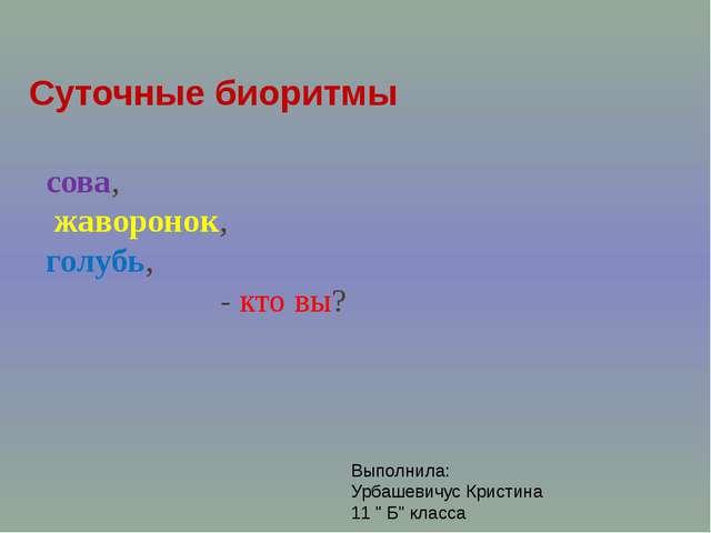 сова, жаворонок, голубь, - кто вы? Суточные биоритмы Выполнила: Урбашевичус К...