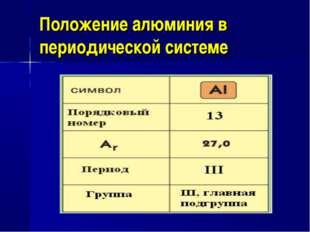 Положение алюминия в периодической системе
