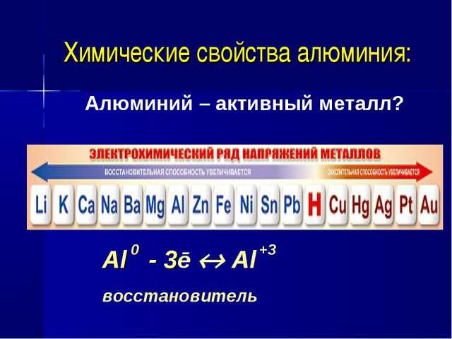 Химические свойства алюминия: Алюминий – активный металл? Al - 3ē  Al восст...