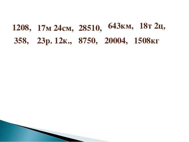 1208, 17м 24см, 28510, 358, 8750, 20004, 643км, 18т 2ц, 23р. 12к., 1508кг