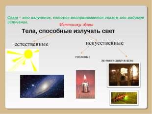 Источники света Тела, способные излучать свет естественные искусственные тепл