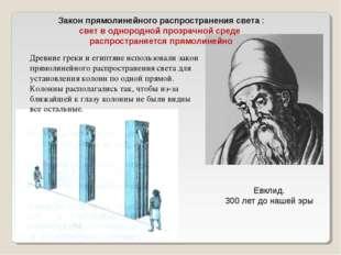 Евклид. 300 лет до нашей эры Закон прямолинейного распространения света : све