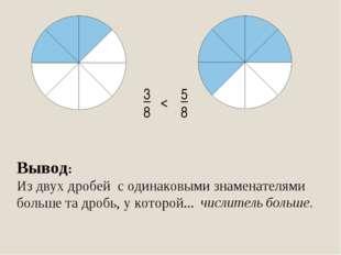 3 8 5 8 < Вывод: Из двух дробей с одинаковыми знаменателями больше та дробь,