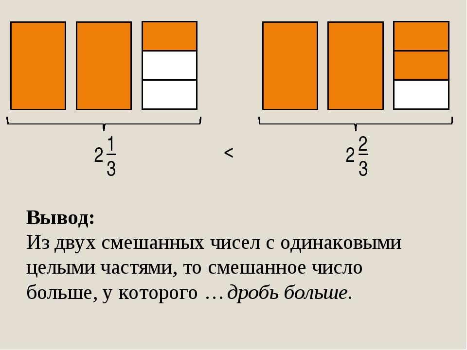 1 3 2 2 3 2 < Вывод: Из двух смешанных чисел с одинаковыми целыми частями, то...