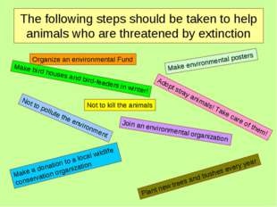 The following steps should be taken to help animals who are threatened by ext
