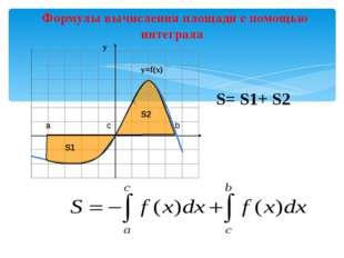 Формулы вычисления площади с помощью интеграла х S= S1+ S2 S1 S2 a c b у у=f