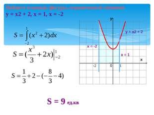 Найдите площадь фигуры, ограниченной линиями у = х2 + 2, х = 1, х = -2 у S =