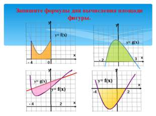 y Запишите формулы для вычисления площади фигуры. y= f(x) y= f(x) -4 2 - 2 3