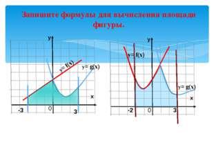 y= f(x) y= f(x) y= g(x) -3 3 0 Запишите формулы для вычисления площади фигур