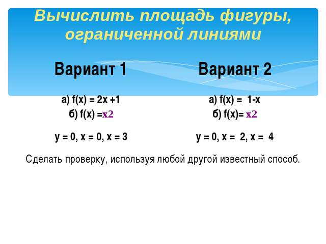 Вычислить площадь фигуры, ограниченной линиями Вариант 1 Вариант 2 а)f(x) = 2...