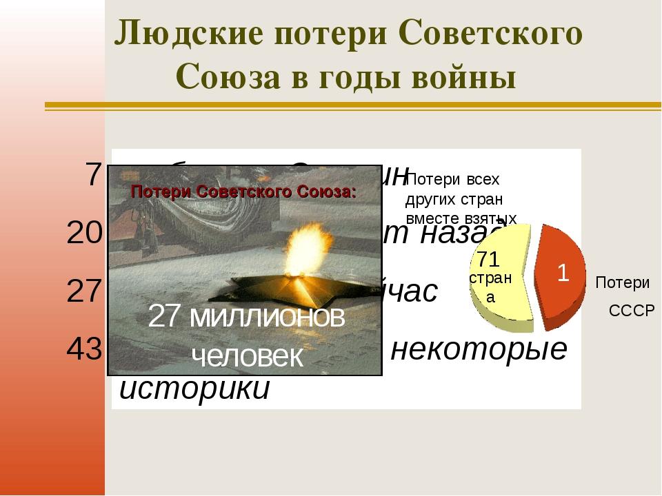 Людские потери Советского Союза в годы войны 7 миллионов 20 миллионов 27 милл...