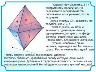 Строим треугольники 2, 3 и 4 инструментом Полилиния. Не переживайте если пол