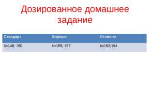 Дозированное домашнее задание СтандартХорошоОтлично №148; 150№155; 157№16