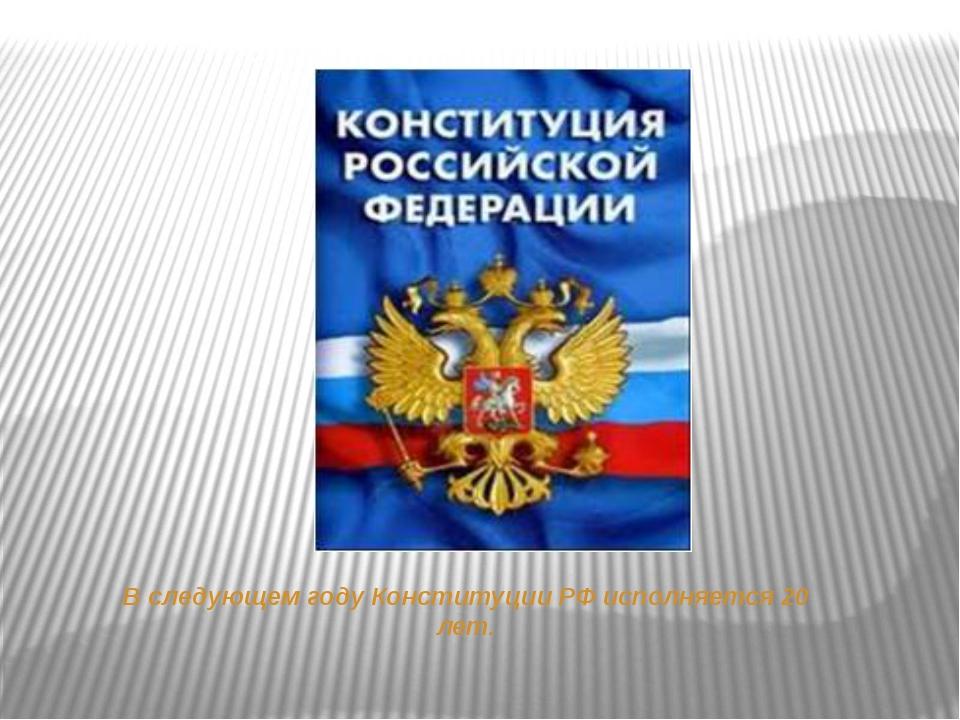 В следующем году Конституции РФ исполняется 20 лет.