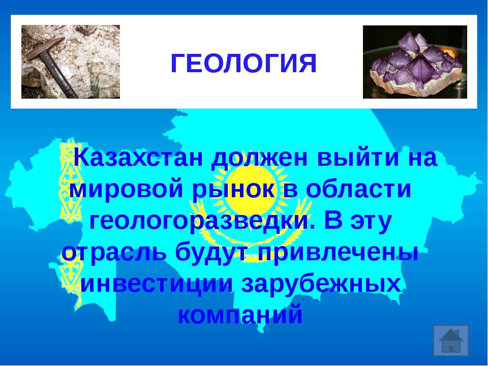 Казахстан должен выйти на мировой рынок в области геологоразведки. В эту о...