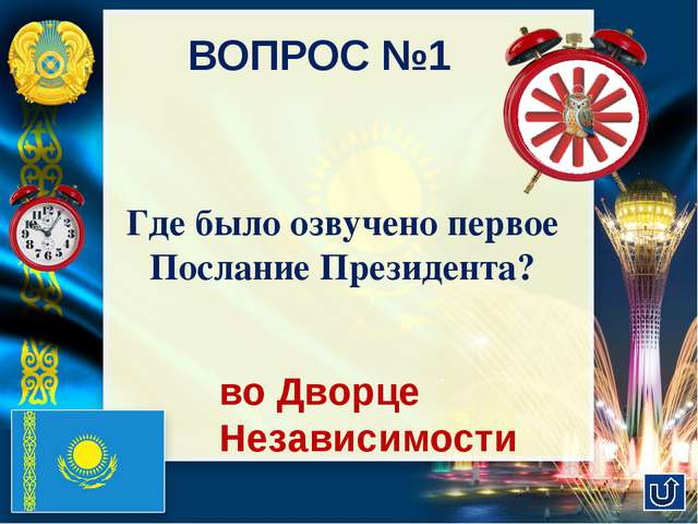 ВОПРОС №2 Президент Казахстана - единственный Лидер в мире, кто ….. оглашает...