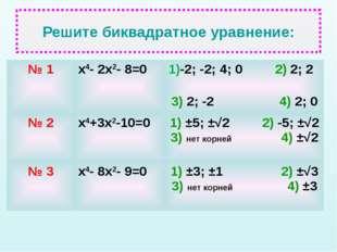 Решите биквадратное уравнение: № 1х4- 2х2- 8=01)-2; -2; 4; 0 2) 2; 2 3) 2;