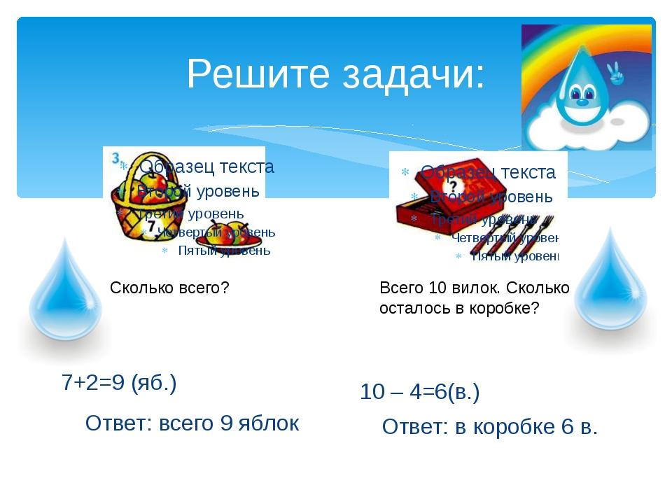 Решите задачи: 7+2=9 (яб.) Ответ: всего 9 яблок 10 – 4=6(в.) Ответ: в коробке...