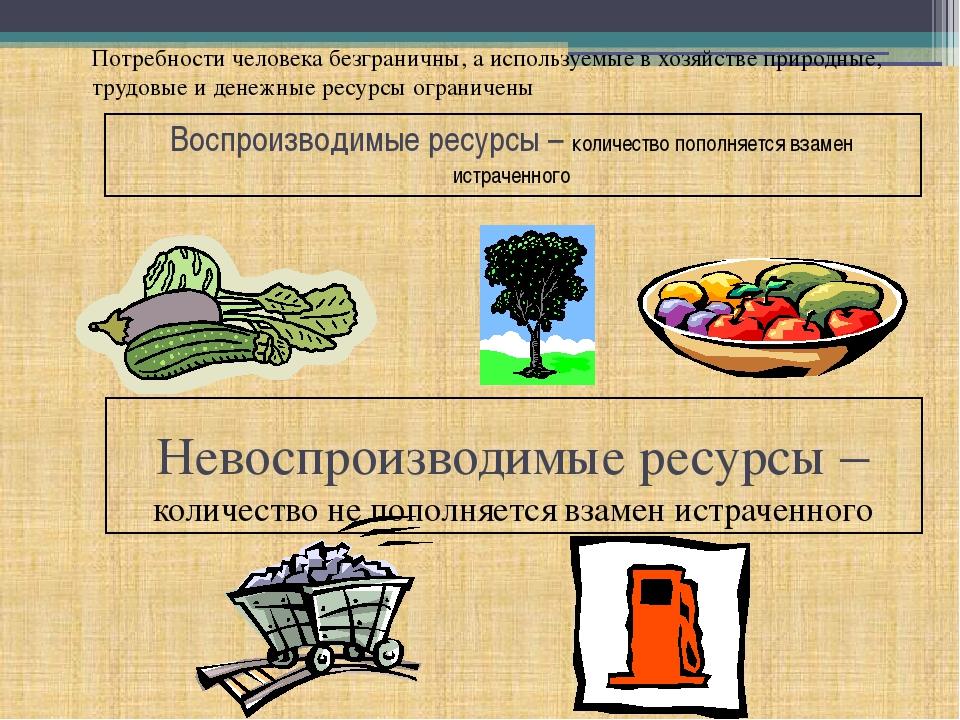 Воспроизводимые ресурсы – количество пополняется взамен истраченного Невоспро...