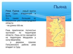 Пьяна Река Пьяна - левый приток реки Суры, впадающей в Волгу. Это самая боль