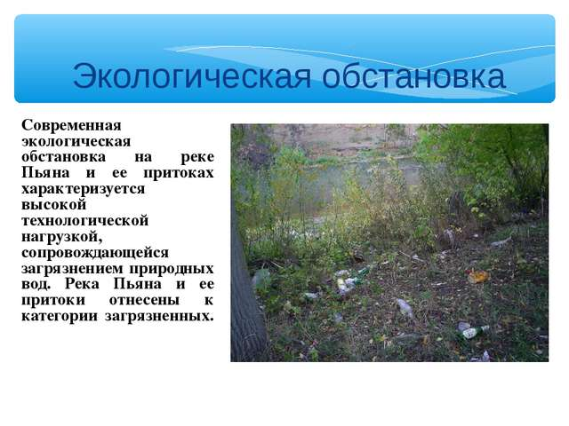 Экологическая обстановка Современная экологическая обстановка на реке Пьяна и...