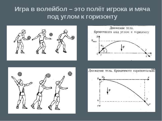 Игра в волейбол – это полёт игрока и мяча под углом к горизонту