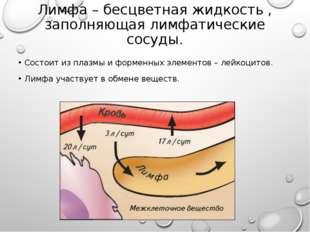 Лимфа – бесцветная жидкость , заполняющая лимфатические сосуды. Состоит из пл