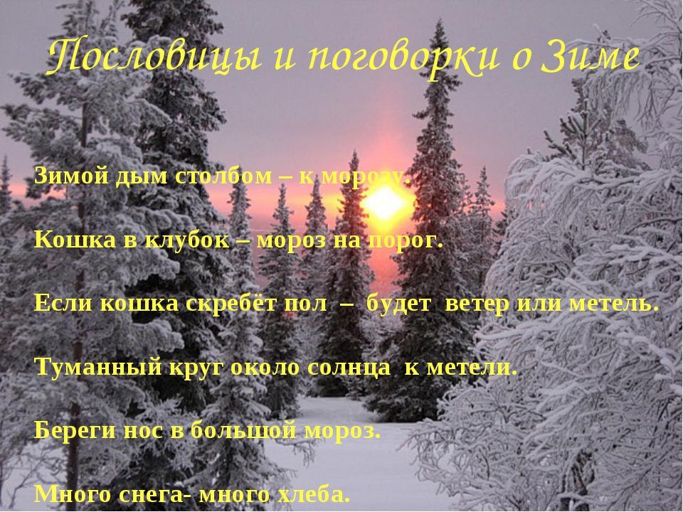 Пословицы и поговорки о Зиме Зимой дым столбом – к морозу. Кошка в клубок – м...
