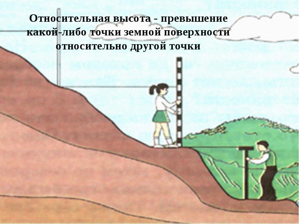 Относительная высота - превышение какой-либо точки земной поверхности относит...