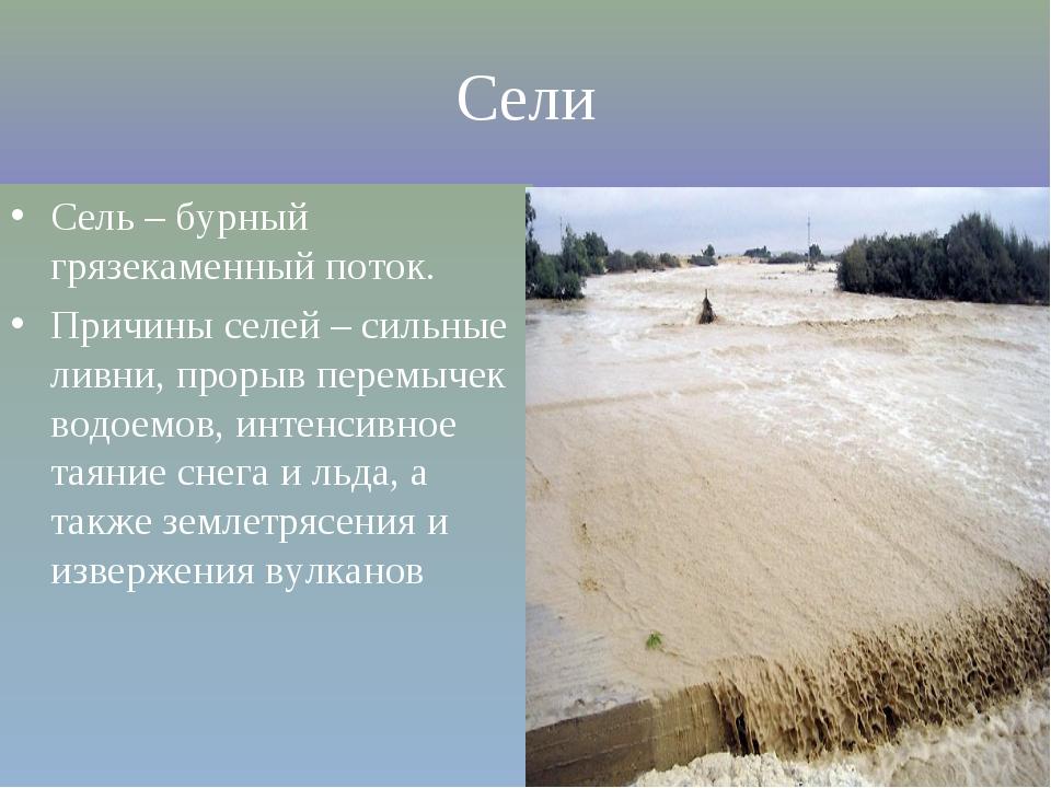 Сели Сель – бурный грязекаменный поток. Причины селей – сильные ливни, прорыв...